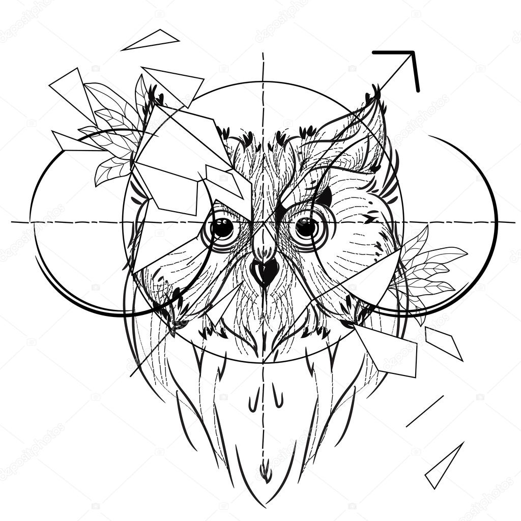 Cabeza triangular icono de pájaro buho — Vector de stock © YAZZIK ...