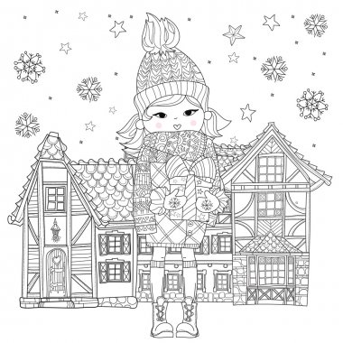 Vector cute girl in winter hat with christmas gift