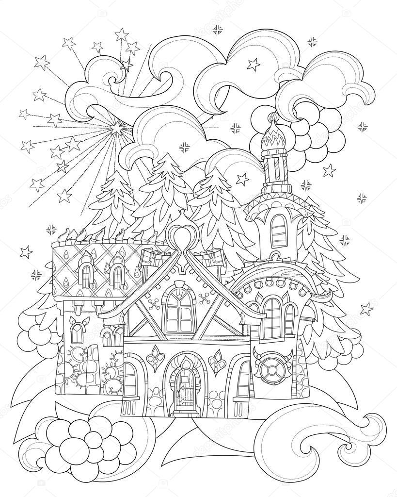 Vektor süße Weihnachten Märchen Stadt doodle — Stockvektor © YAZZIK ...