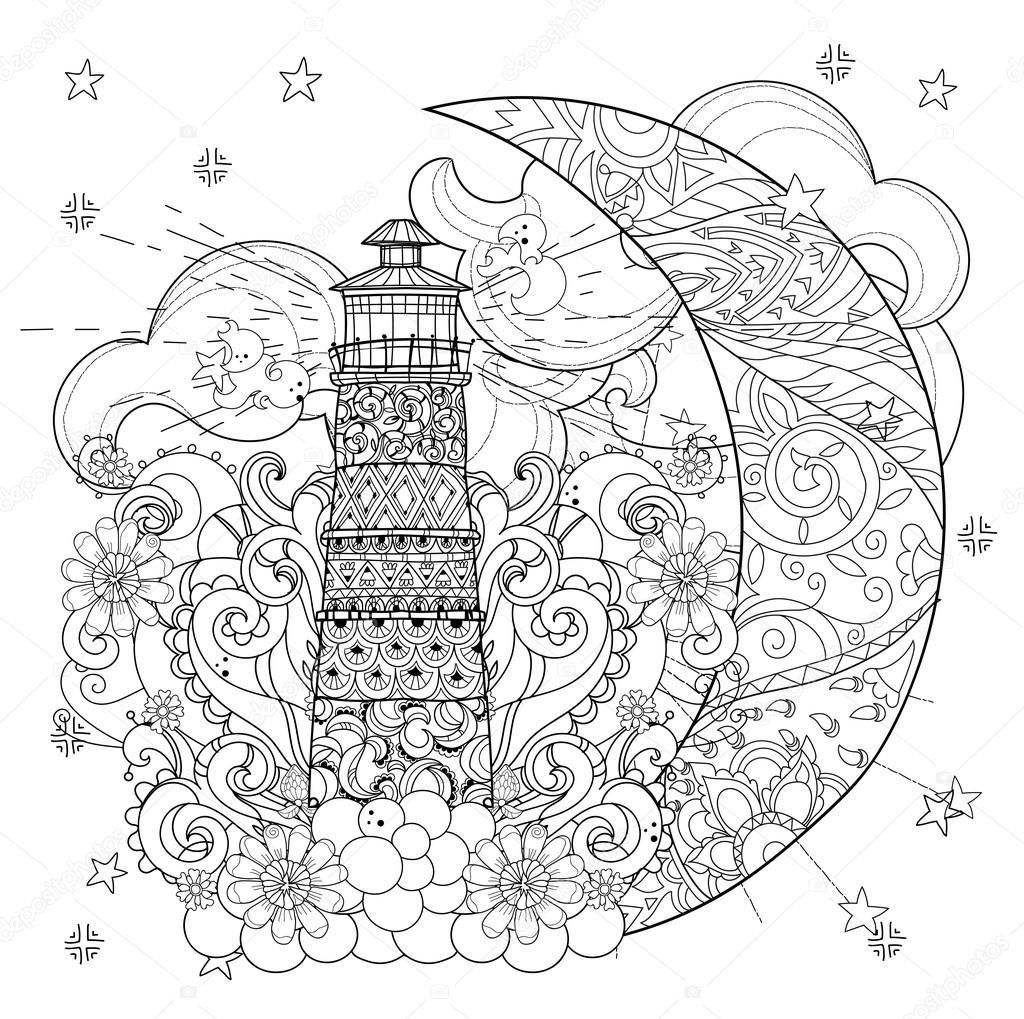 Faro de lindo en Navidad media luna — Vector de stock © YAZZIK ...