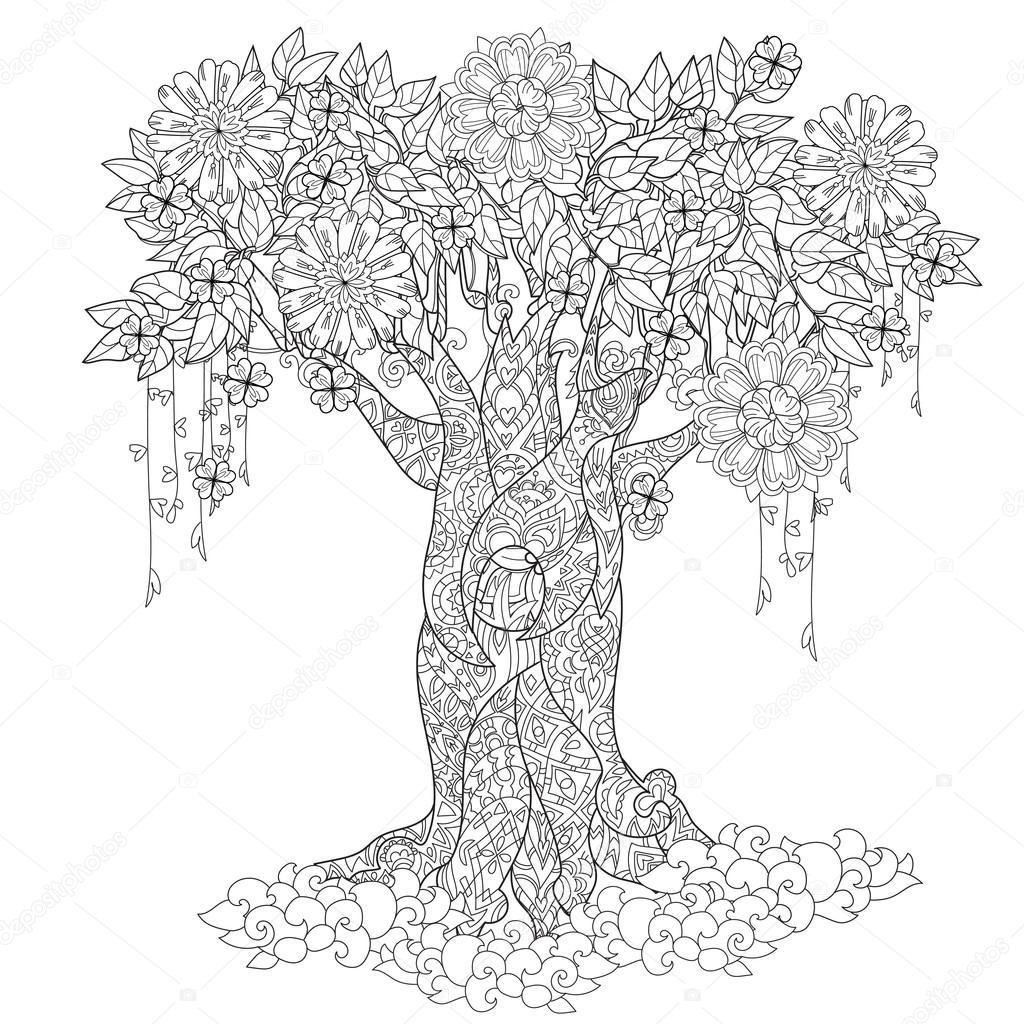 Lindo cuento de hadas árbol de bosque mágico — Archivo Imágenes ...