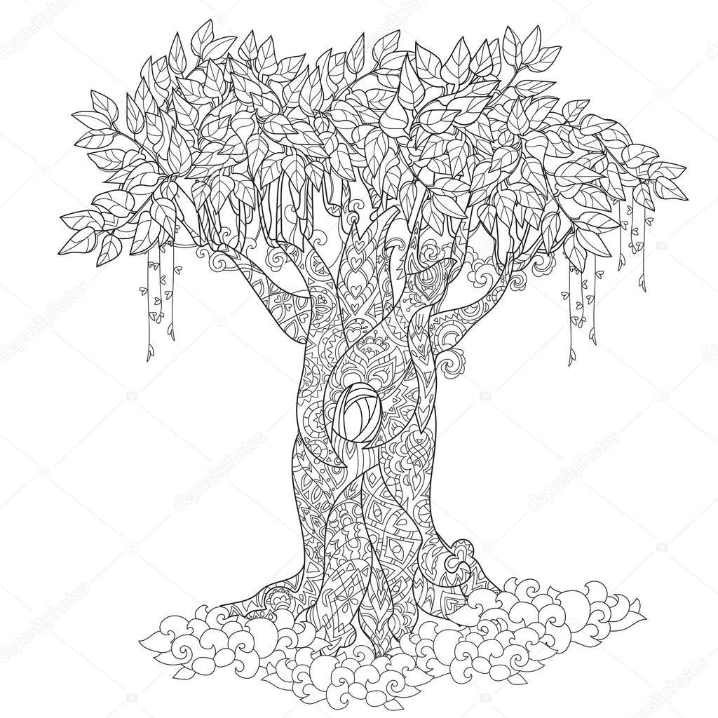 Lindo cuento de hadas árbol de bosque mágico — Vector de stock ...