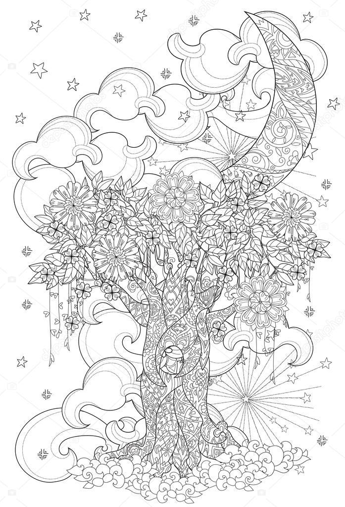 Lindo cuento de hadas árbol de bosque mágico — Foto de stock ...