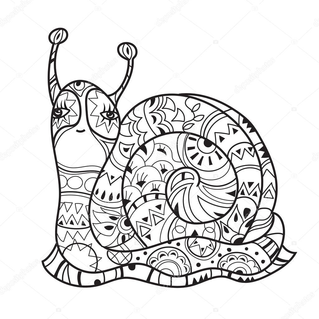Zen Искусство стилизованные Улитка — Векторное изображение ...