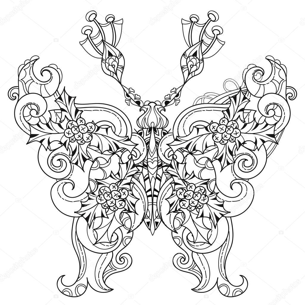 Mariposa de encaje tropical estilizado del paraíso — Archivo ...