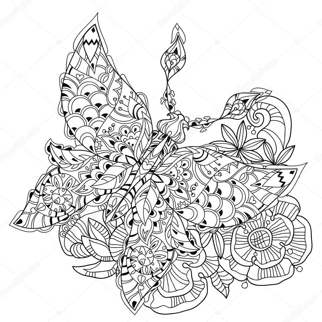 Mariposa de encaje tropical estilizado del paraíso — Vector de stock ...