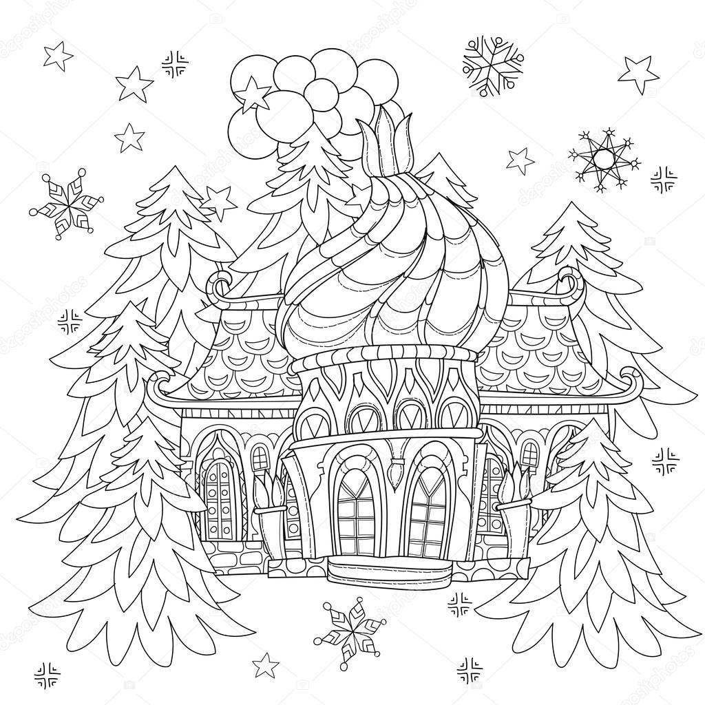 Doodle de ciudad de vector lindo Navidad cuento de hadas — Vector de ...