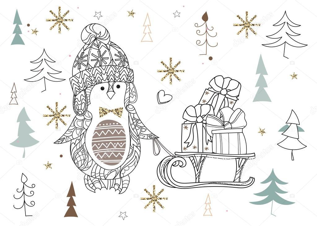 Doodle de lindo arte de zen de pingüino de Navidad — Vector de stock ...