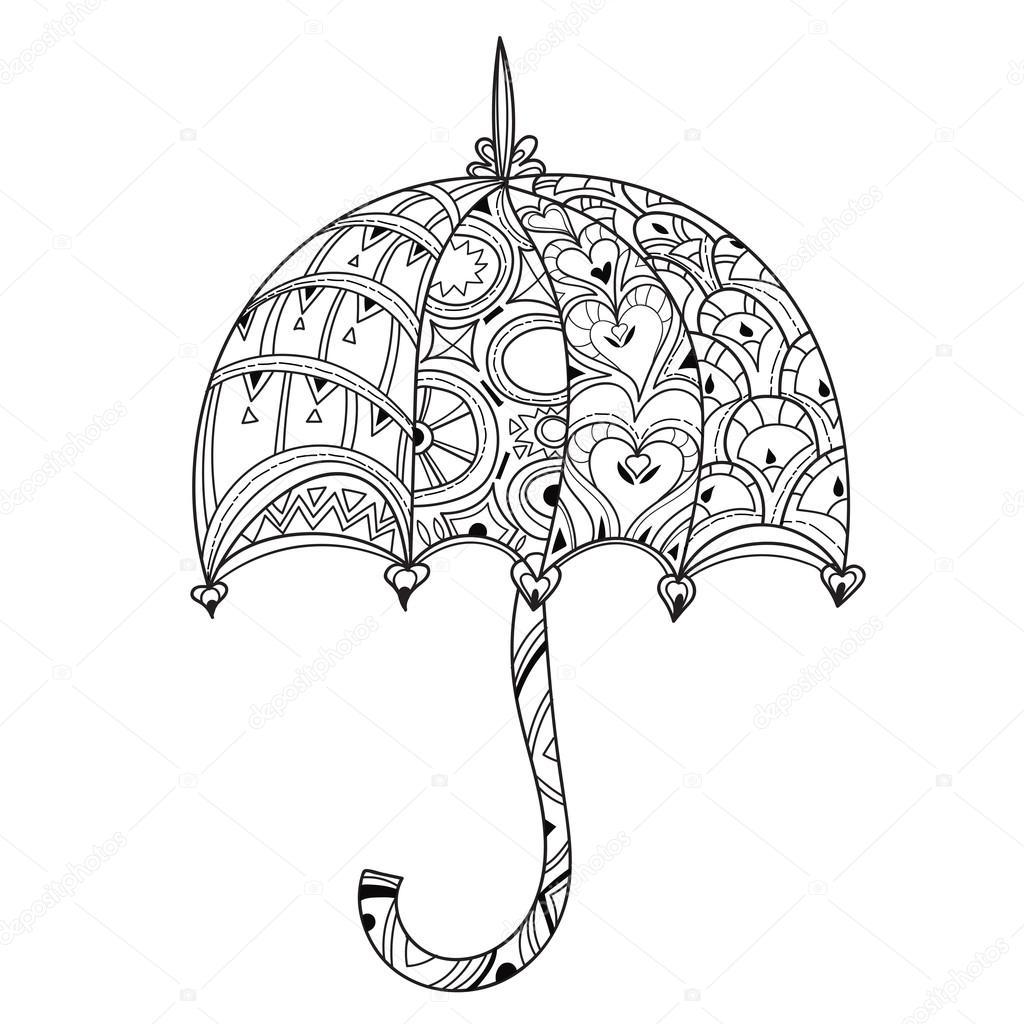 Hand gezeichnet Doodle Umriss Regenschirm — Stockvektor © YAZZIK ...