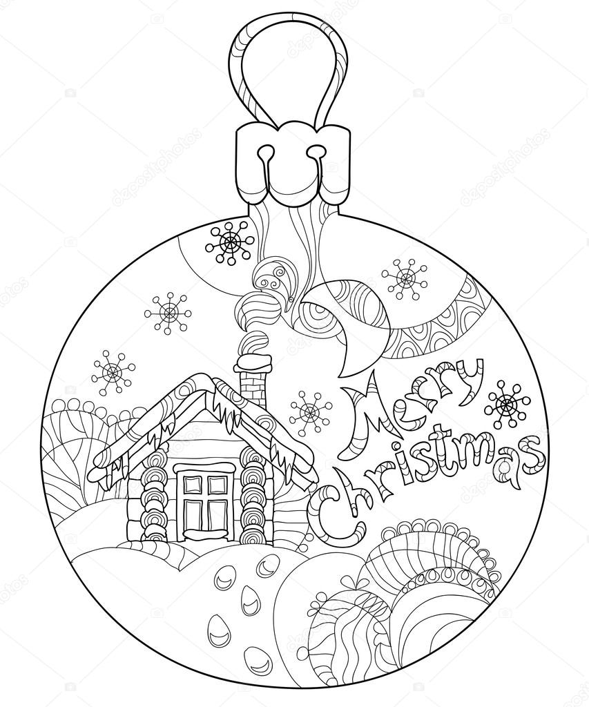Winter Night Landscape For Christmas In A Glass Ball Moon House Snow Snowfall Snowdrifts Vector Illustration