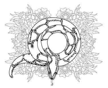 Hand drawn doodle outline anaconda.