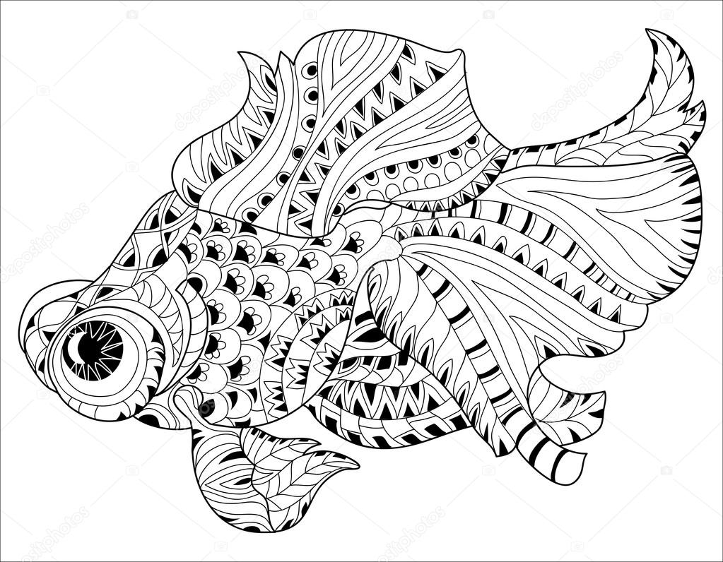 Zentangle estilizado floral china peces doodle — Vector de stock ...