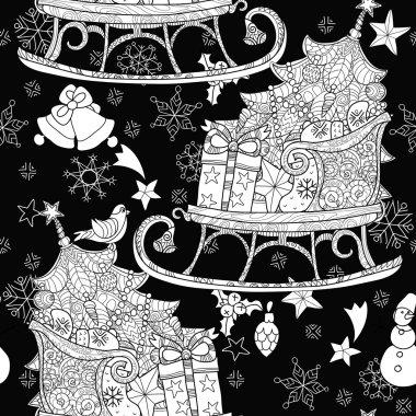 Hand drawn Christmas doodle sketch sledge