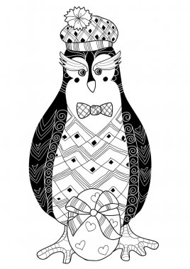 Egg and penguin doodle vector illustration.