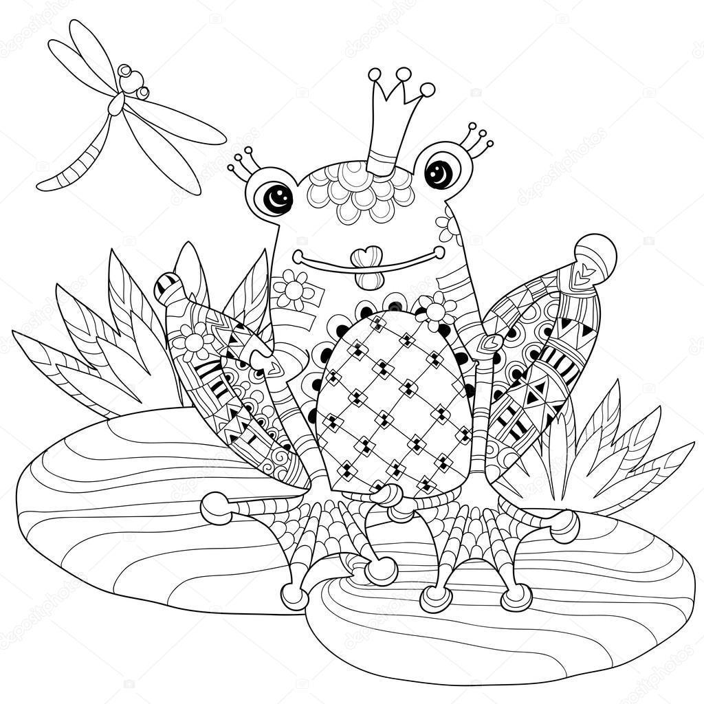 Taç Lotus Ile Sevimli Kurbağa Prens Stok Vektör Yazzik 89466332