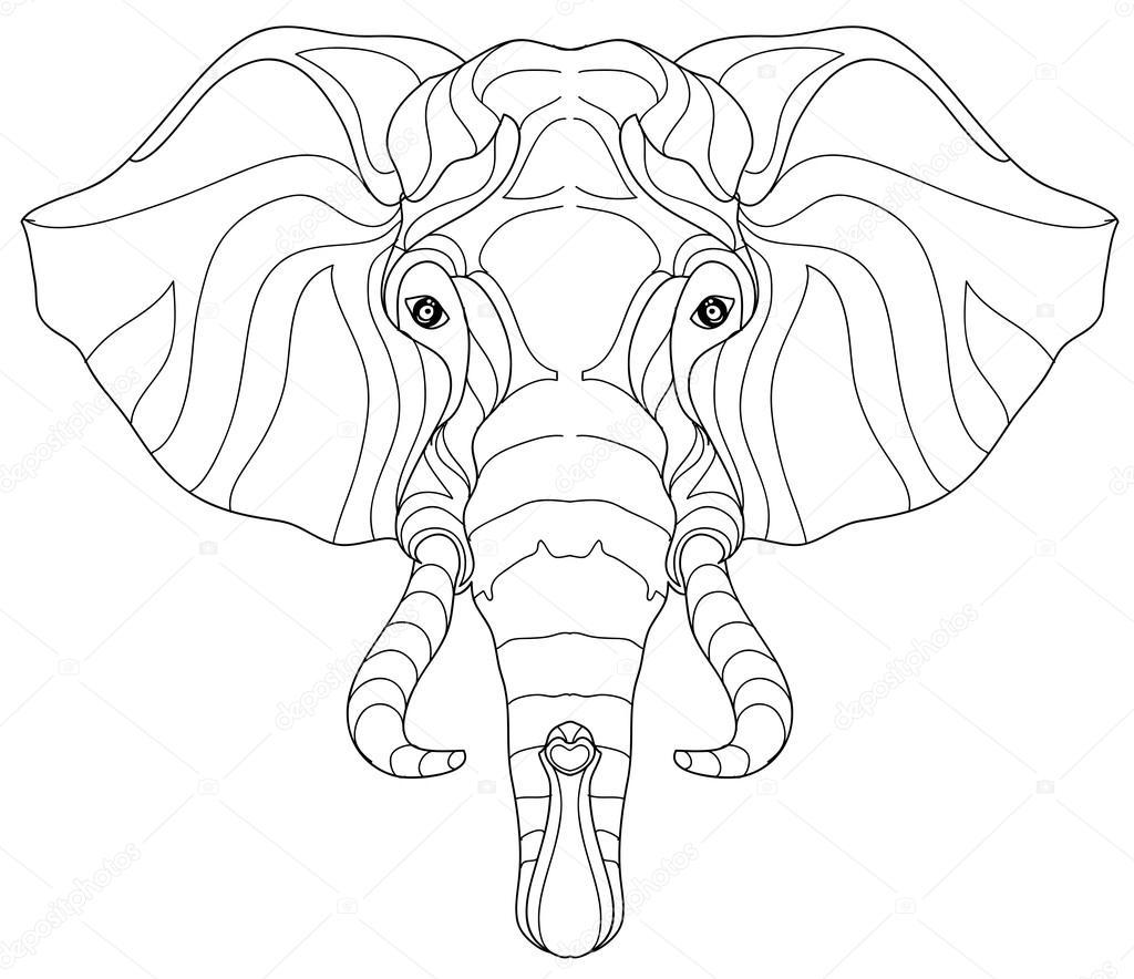 Elefante cabeza doodle en bosquejo blanco vector — Archivo Imágenes ...