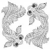 Fotografie Zentangle stilisiert floral China Fisch Gekritzel