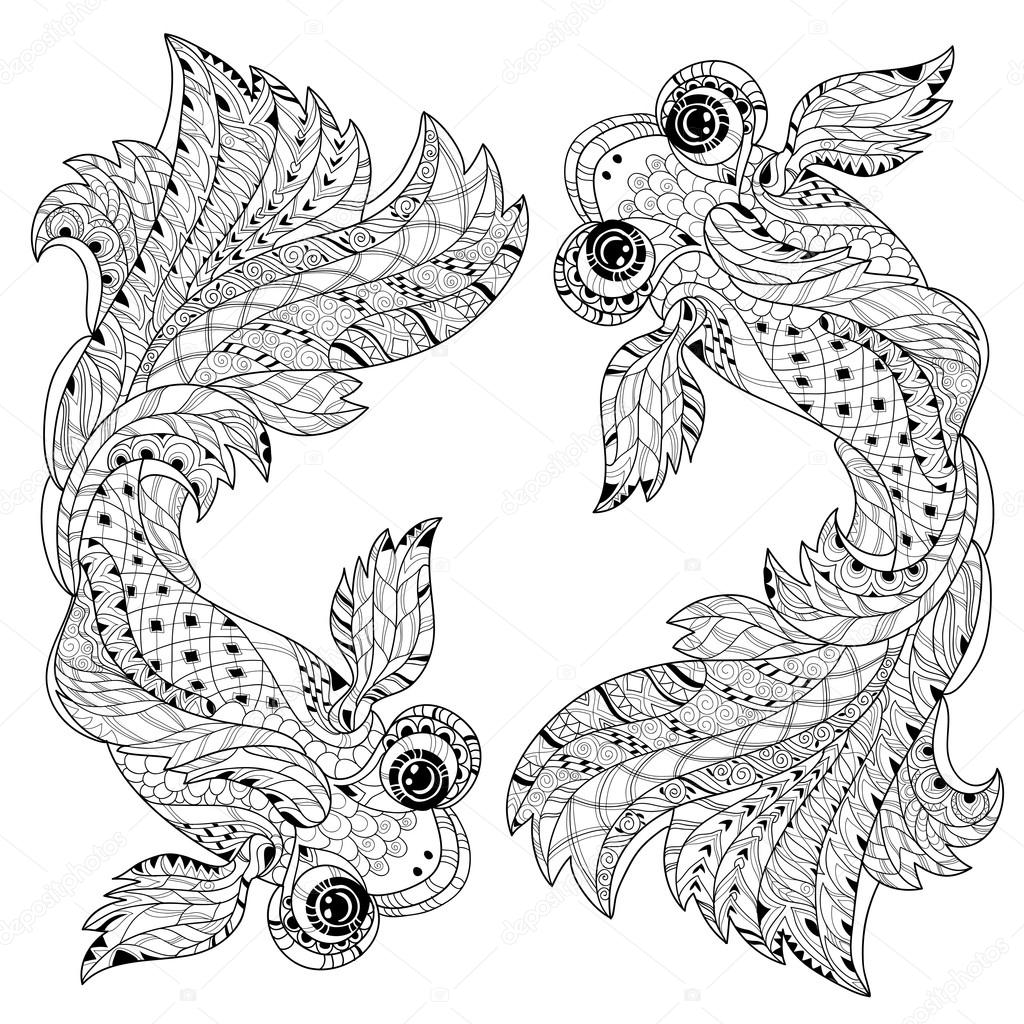 doodle de poisson chine floral stylis zentangle image. Black Bedroom Furniture Sets. Home Design Ideas