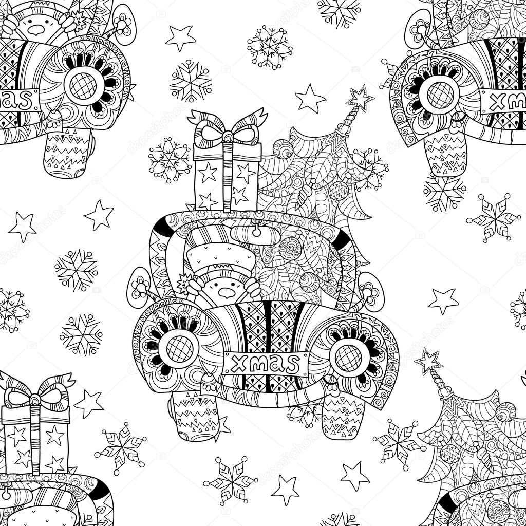 Christmas car gift doodle zentangle vector.