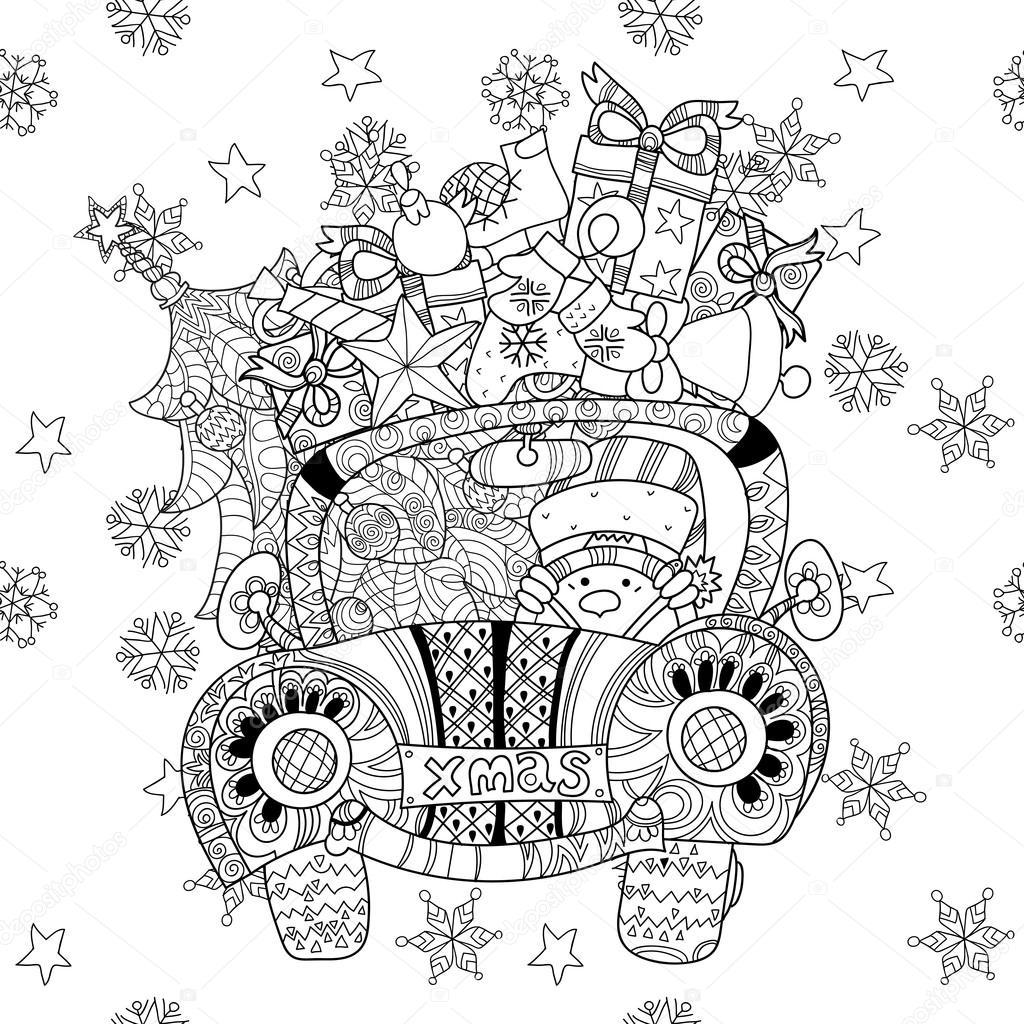 Auto-Weihnachtsgeschenk doodle Zentangle Vektor — Stockvektor ...