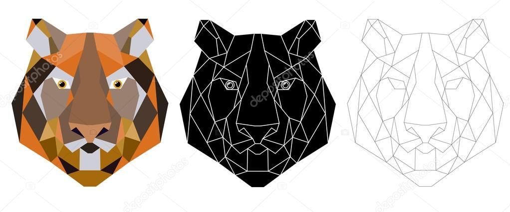 Icone Triangulaire Tete De Tigre Tendance Geometrique Image