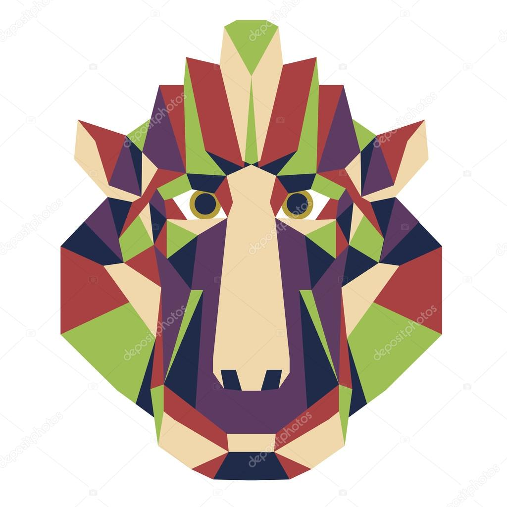 Icono triangular cabeza de mono - vector de polietileno baja ...