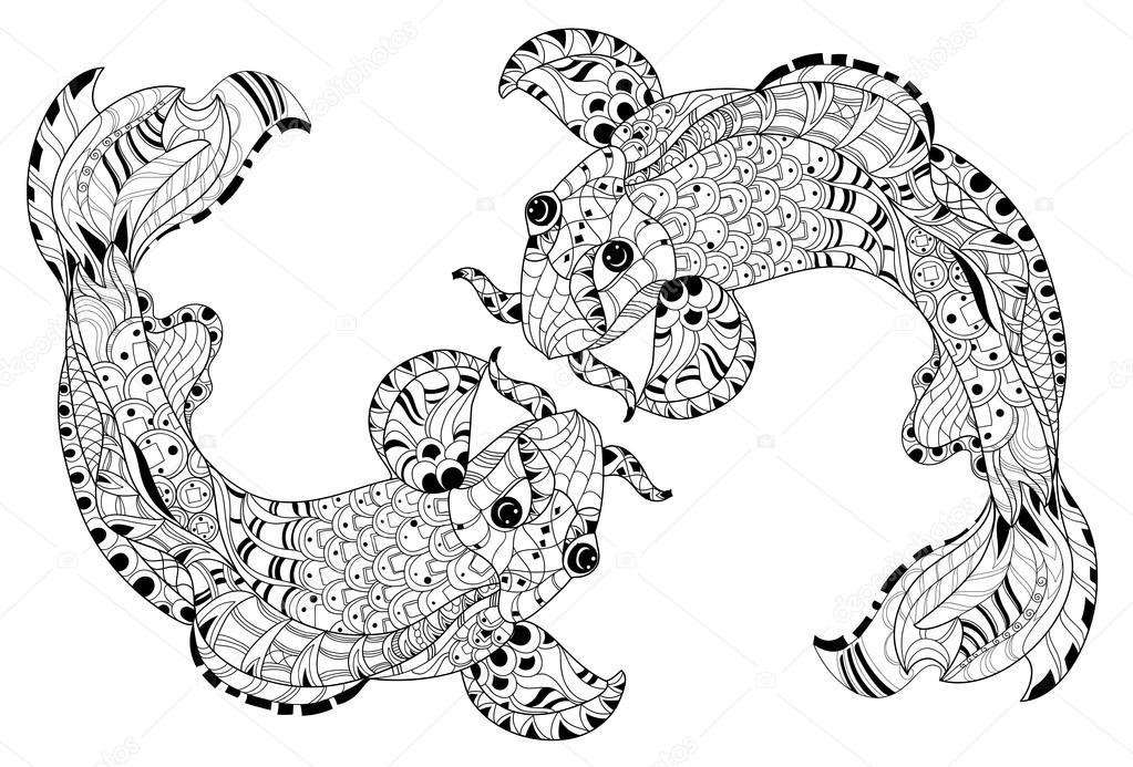 Zentangle china florales estilizados peces carpa doodle — Archivo ...