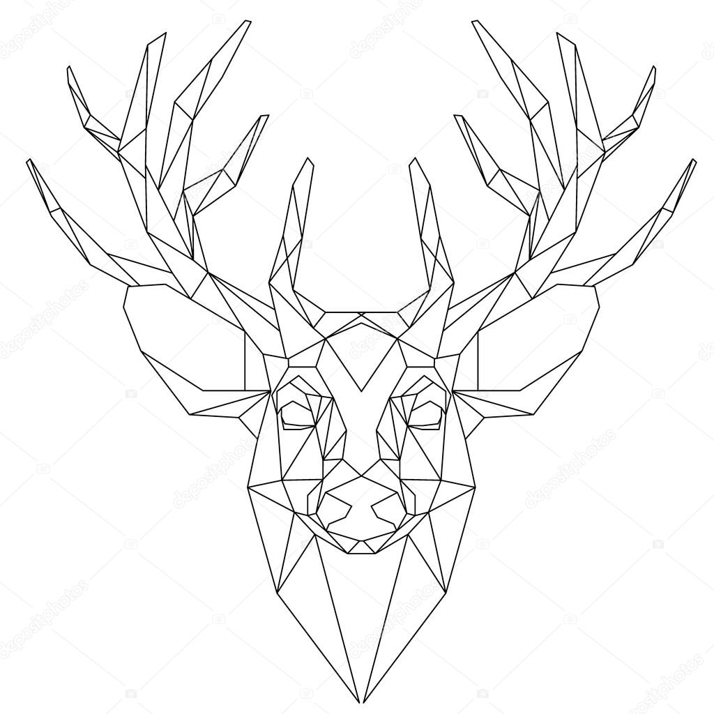 Deer head triangular icon