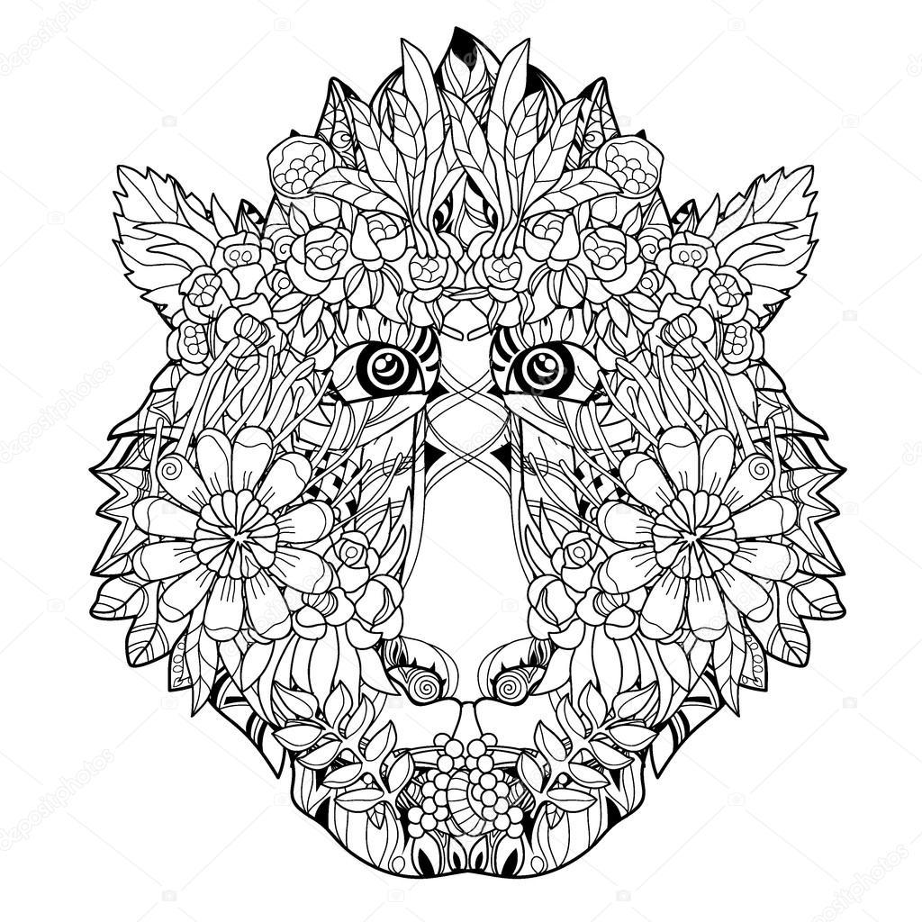 Diseño de icono-dibujado a mano flor cabeza mono — Vector de stock ...