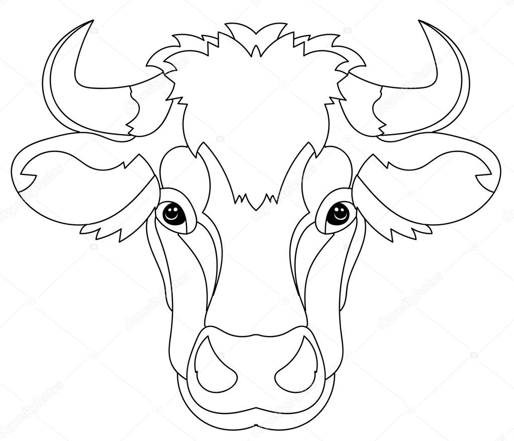Hand gezeichneten Gekritzel Gliederung Kuh Kopf — Stockvektor ...