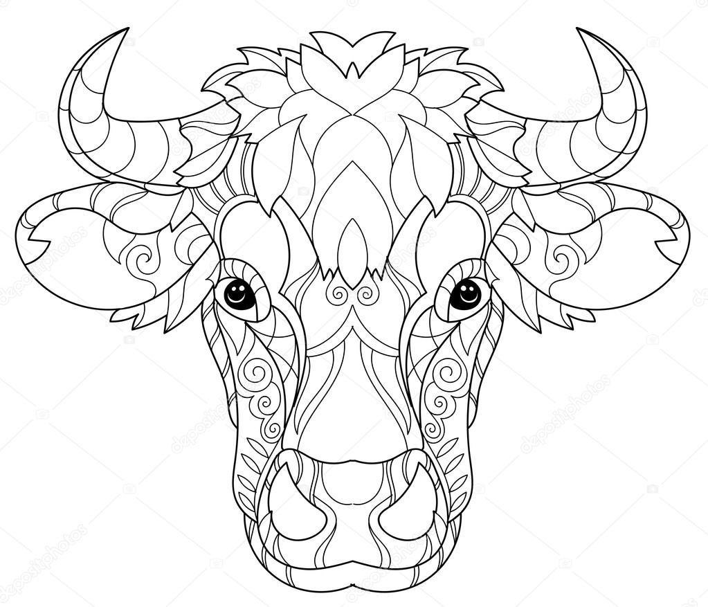 Cabeza de la vaca de doodle dibuja contorno de la mano — Archivo ...