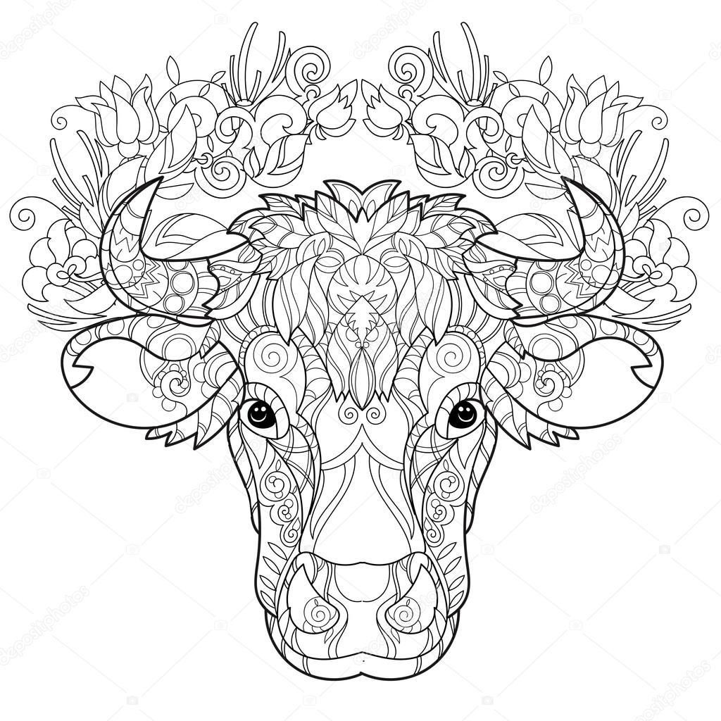 handgezeichnetes doodle umreißt kuhkopf — stockvektor
