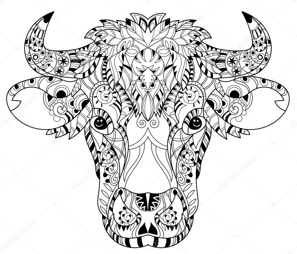 Cabeza de la vaca de doodle dibuja contorno de la mano — Vector de ...