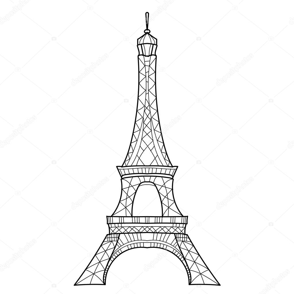 Doodle Eiffel Tower Hand Drawn Vector Sketch Stock Vector
