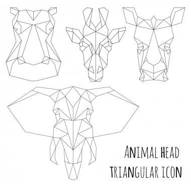 Animal head triangular icon-geometric  line design