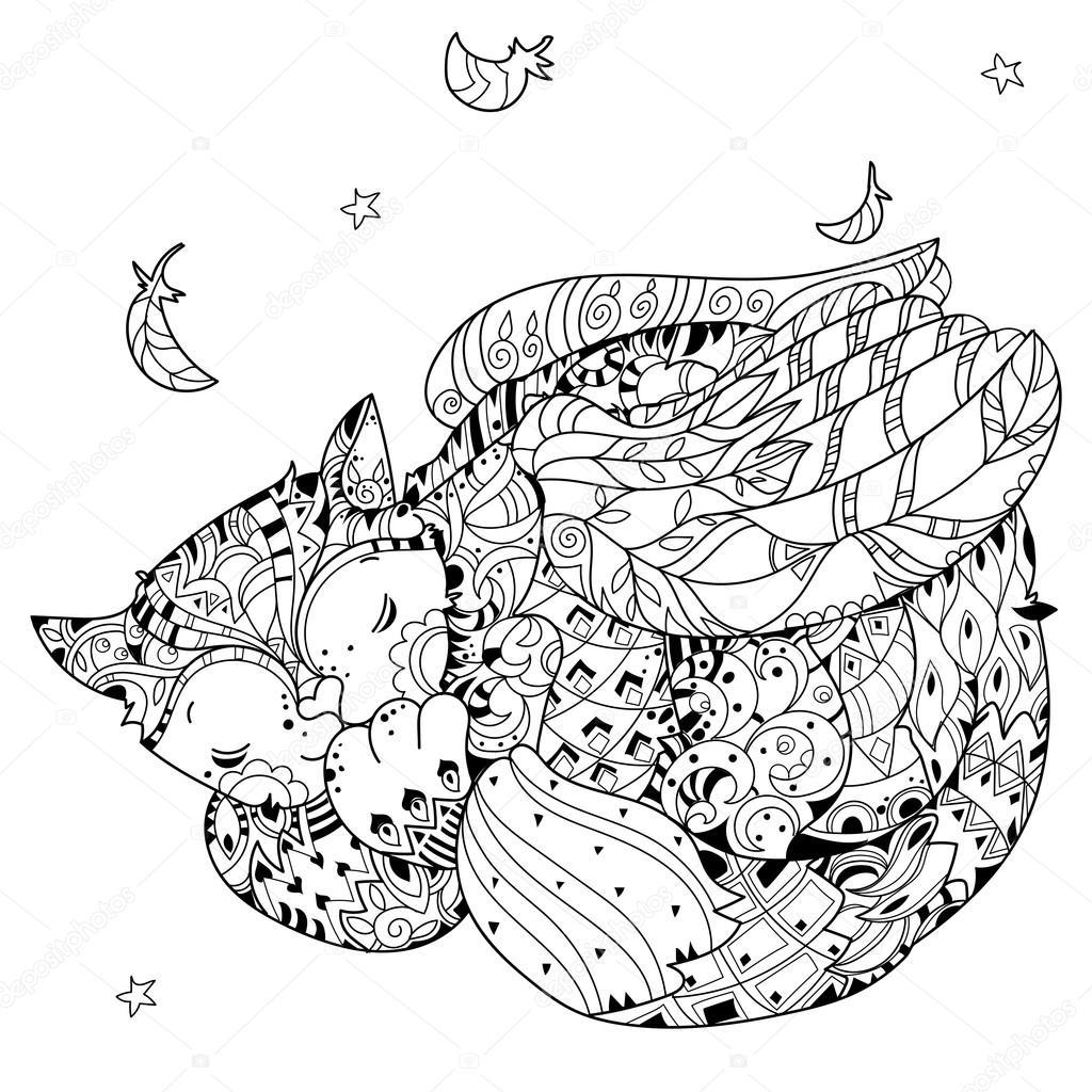 La mano doodle dibuja contorno gato durmiendo — Vector de stock ...