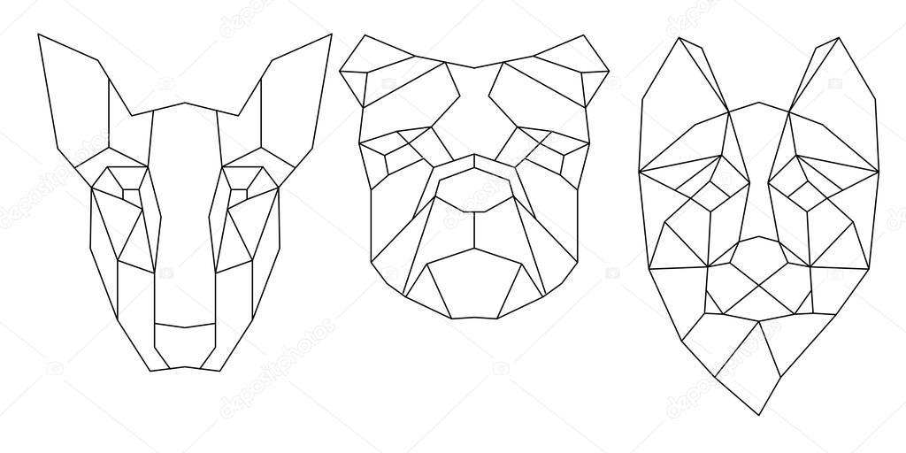 Perro cabeza triangular | Icono triangular cabeza perro, línea moda ...