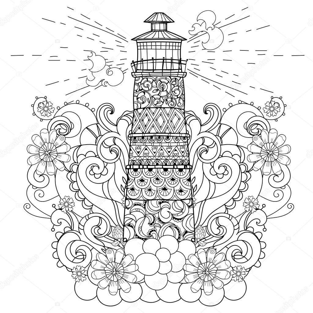 Dibujado a mano doodle contorno Faro boho — Vector de stock © YAZZIK ...