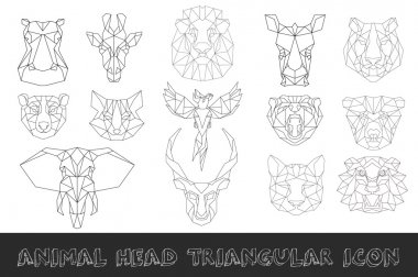 Front view of animal head  triangular icon set