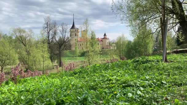 delicate green leaves, the beginning of spring, purple flowers weed, grass, on the background of the castle building, restaurant, wind, a little gloomy sky