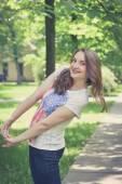 Fotografie Schöne sexy junge Hipster Mädchen im freien