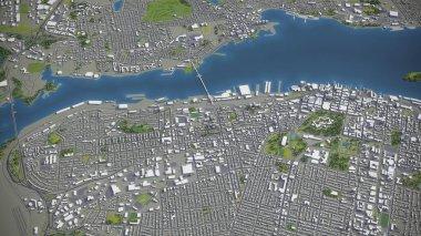 Halifax - 3D city model aerial rendering