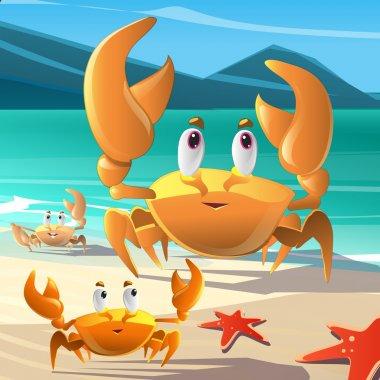 Illustration of a cartoon crabs at the seashore