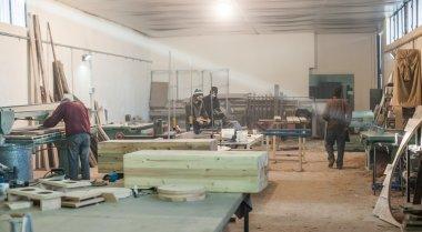Carpenters doing woodwork