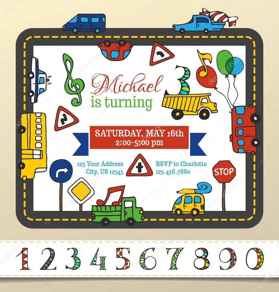 Vector plantilla de invitación de cumpleaños para niño — Archivo ...