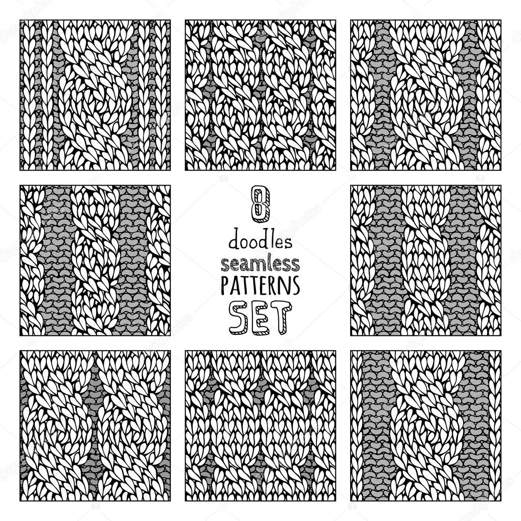 Vector set of various doodles cable stitch patterns. — Archivo ...
