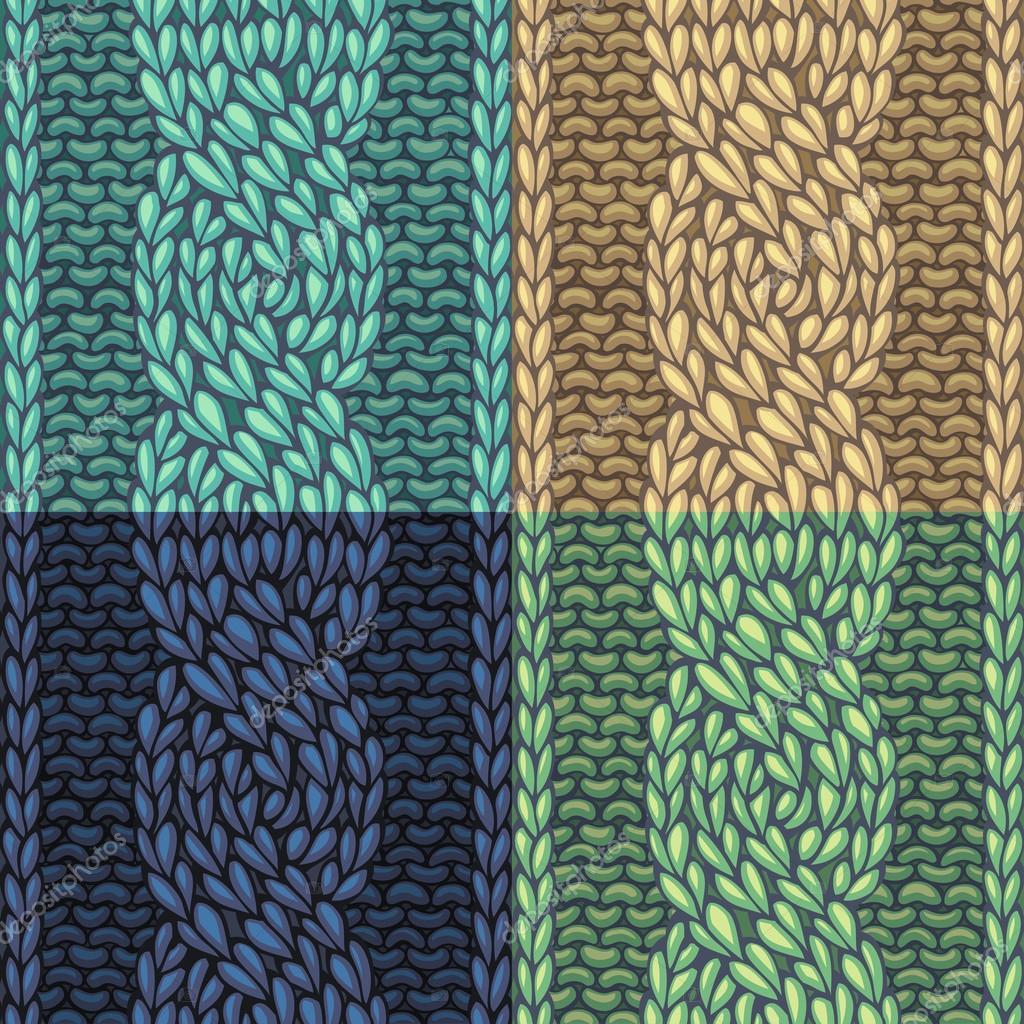 Set of Six-Stitch cable stitch patterns. — Stock Vector © Maljuk ...