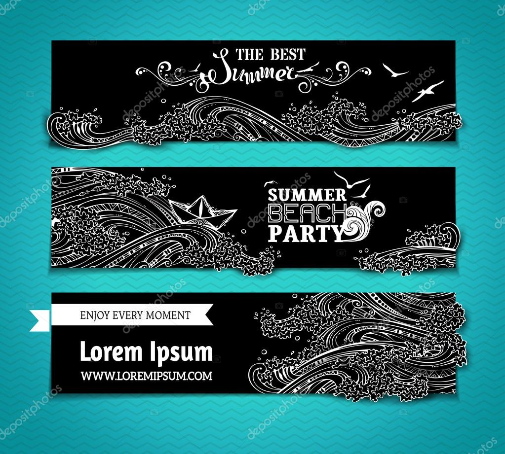 Vector set of chalk sea/ocean horizontal banners.