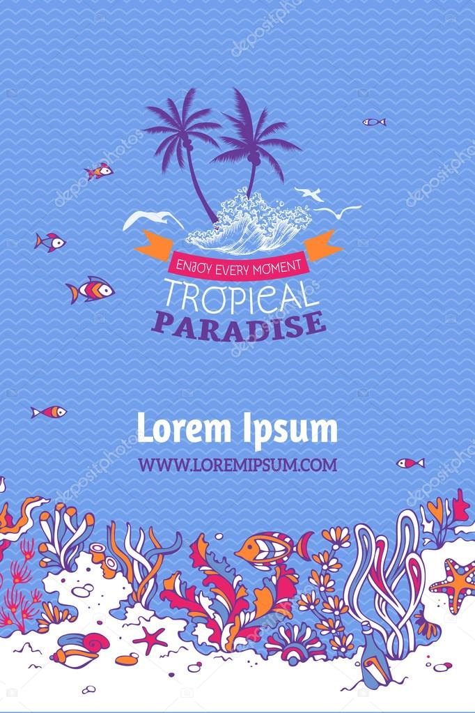 Tropical vector marine background.