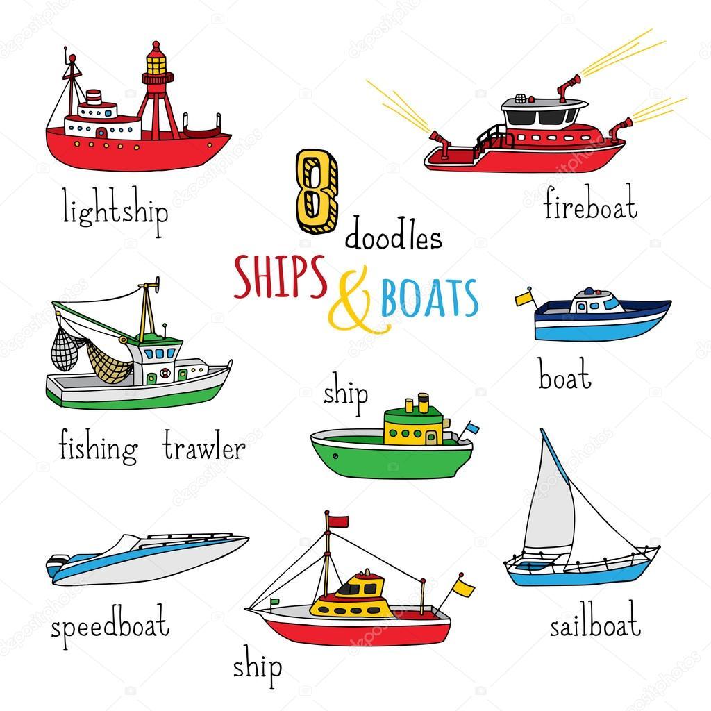 conjunto de garabatos barcos y embarcaciones — Archivo Imágenes ...